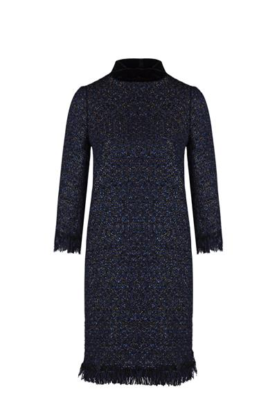 Navy Tweed Long Sleeve Dress