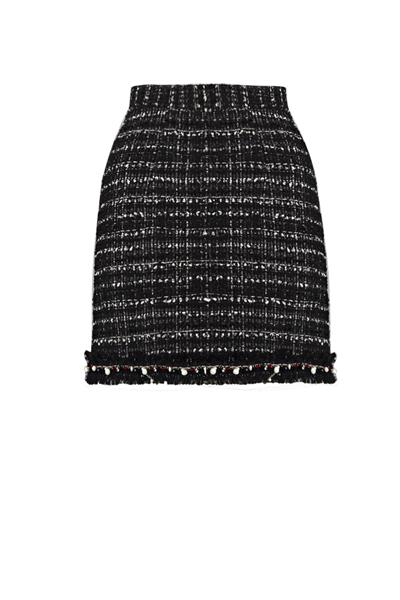 Black & White Wool Tweed Mini Skirt