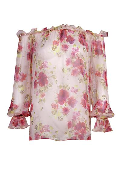 Floral print chiffon shoulder-off