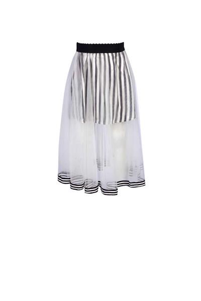 Stripe skirt with lace