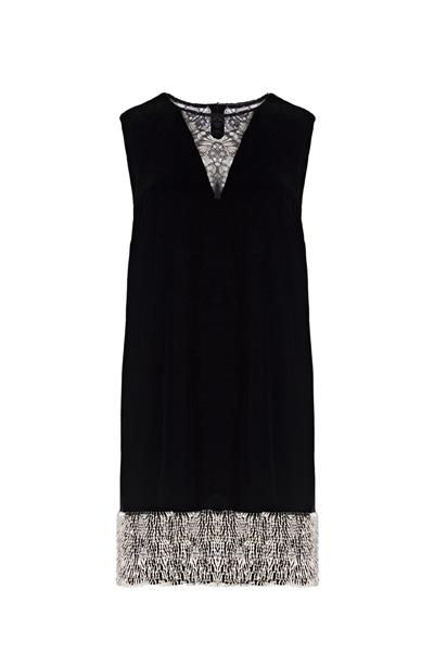 Black velvet dress with pearls