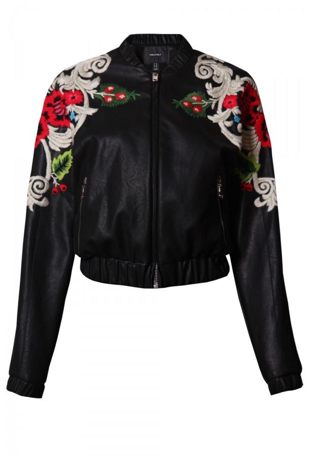 Floral Embroidery Leather Jacket