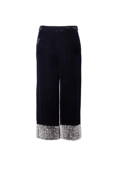 Black velvet culottes with pearls
