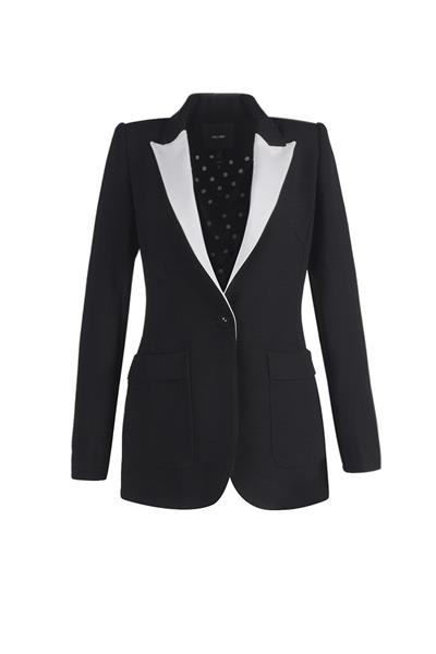 White lapel suit jacket