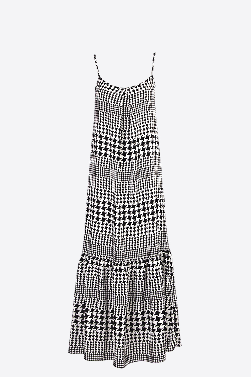 Houndstooth print maxi dress